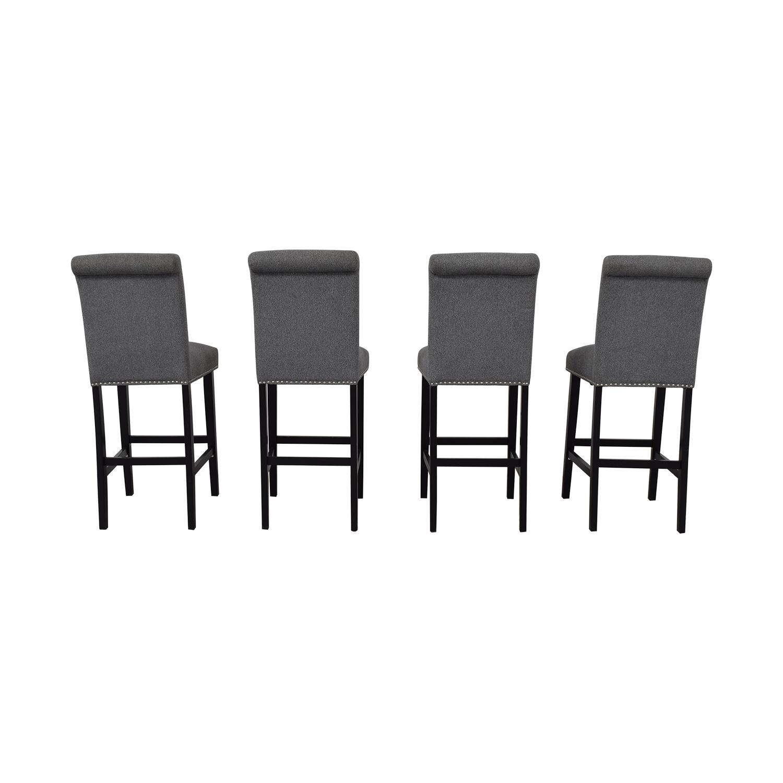 Grey Nailhead Upholstered Counter Stools