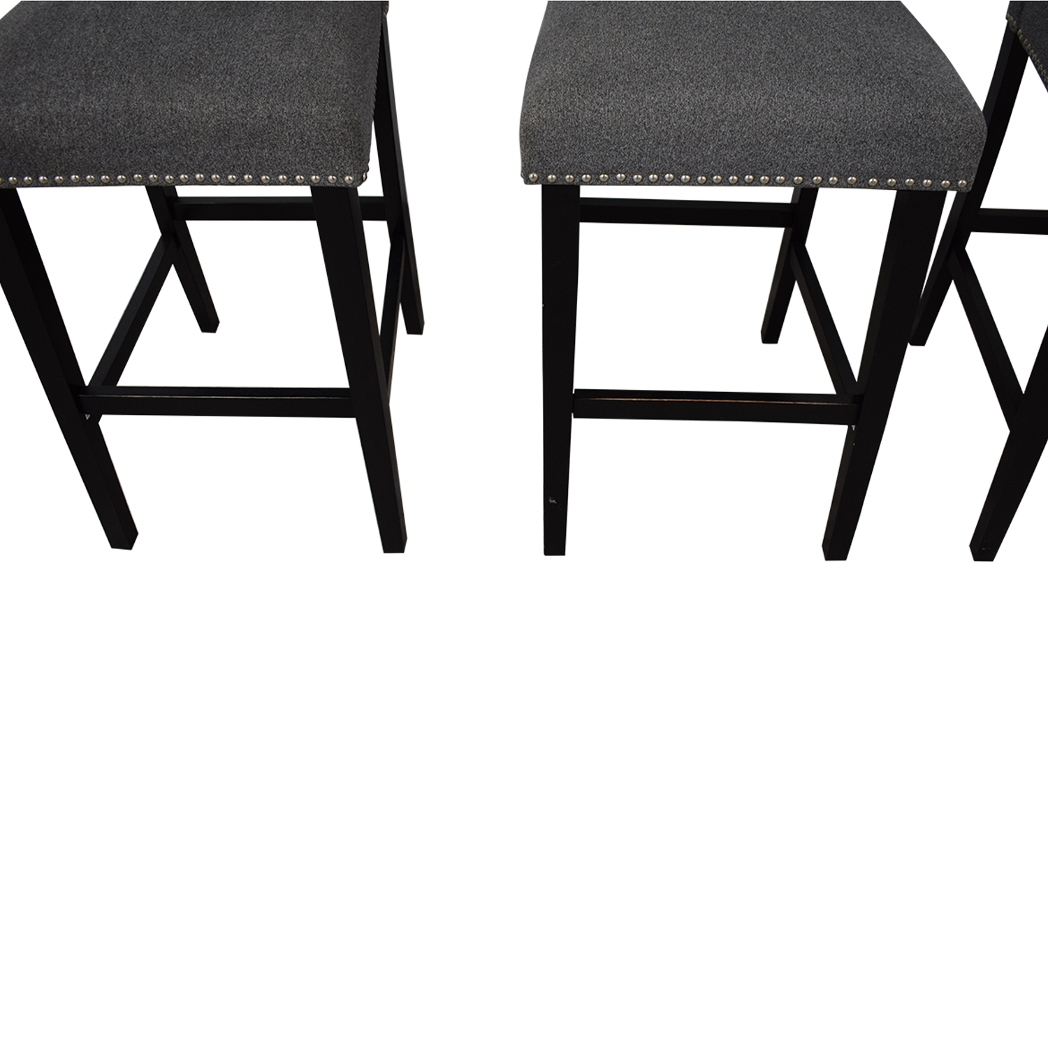 Grey Nailhead Upholstered Counter Stools second hand