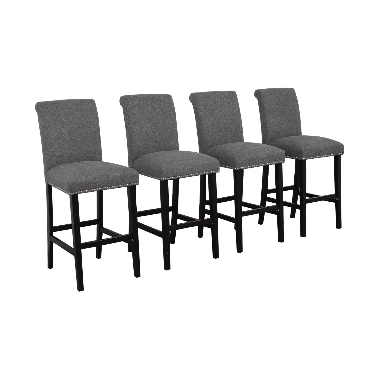 buy Grey Nailhead Upholstered Counter Stools