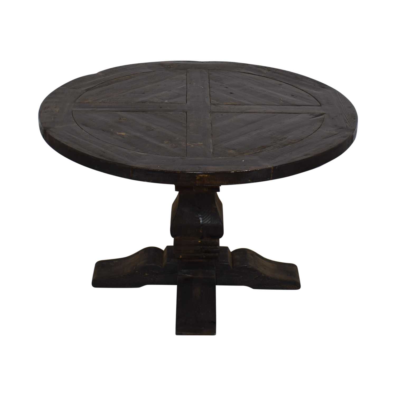 buy Restoration Hardware Round Salvaged Wood Distressed Trestle Table Restoration Hardware Tables