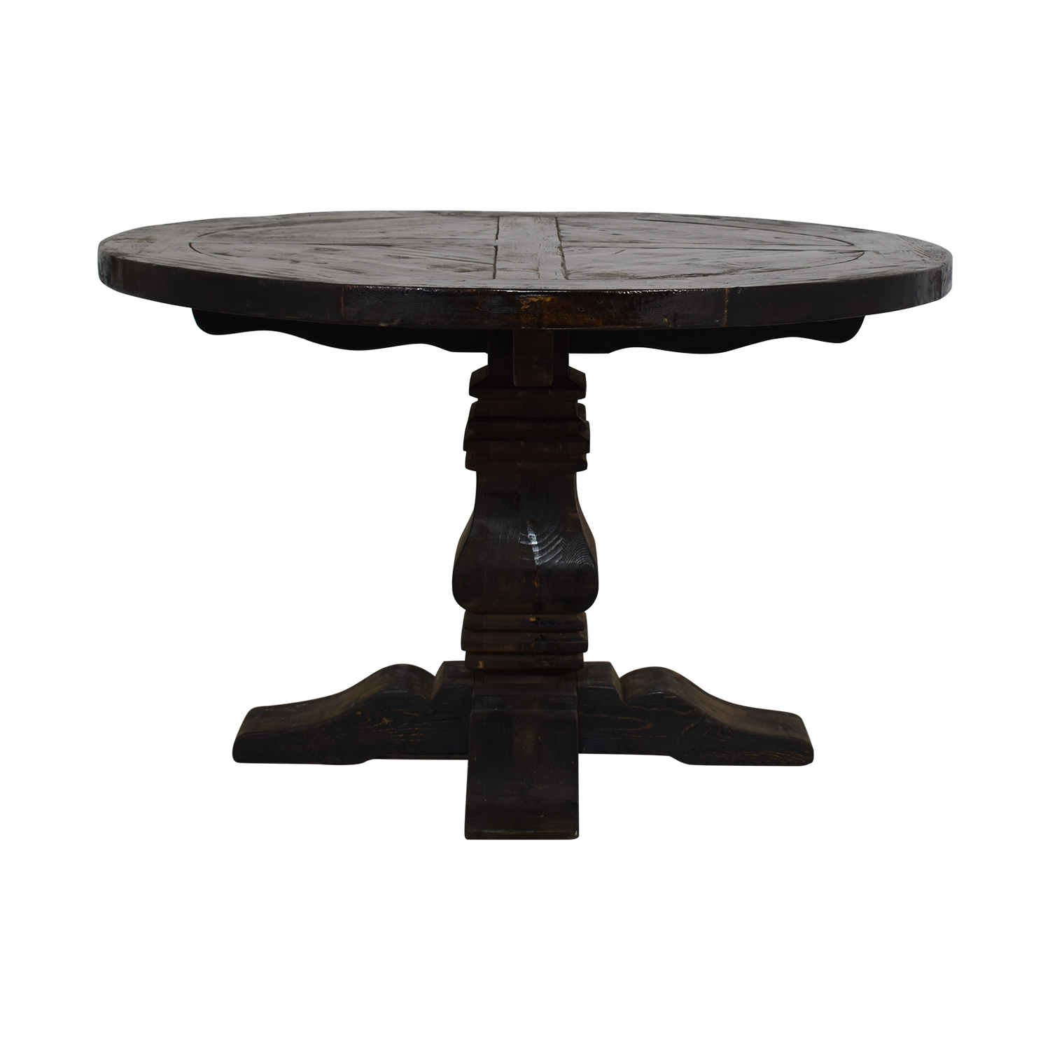 Restoration Hardware Restoration Hardware Round Salvaged Wood Distressed Trestle Table Dinner Tables