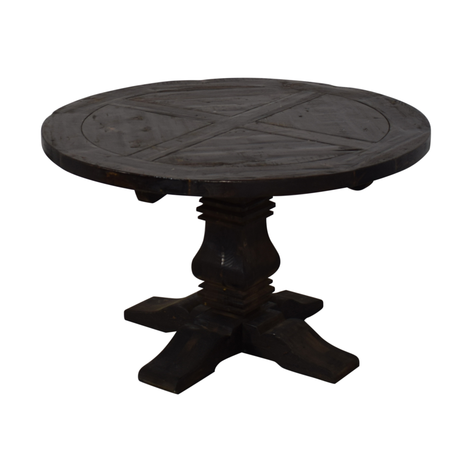Restoration Hardware Restoration Hardware Round Salvaged Wood Distressed Trestle Table dimensions