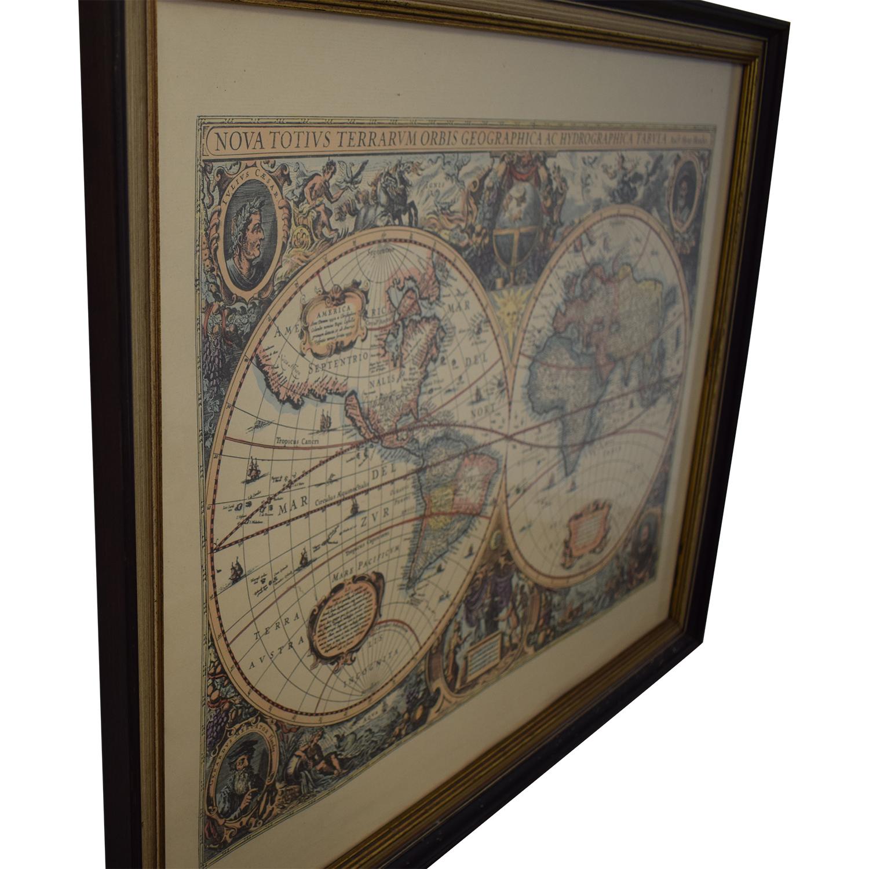 Framed Conduis Antique World Map sale