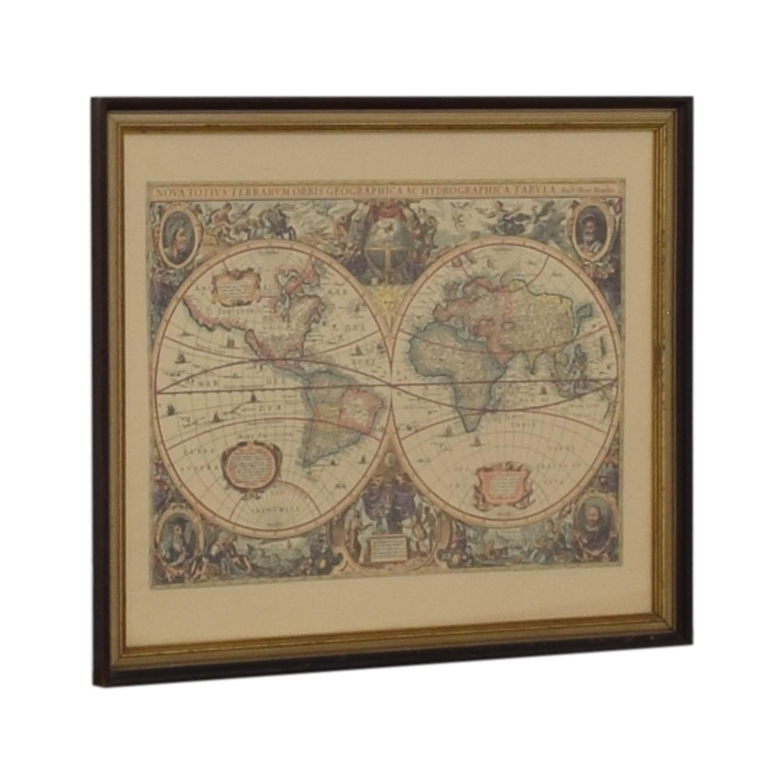 Framed Conduis Antique World Map Decor