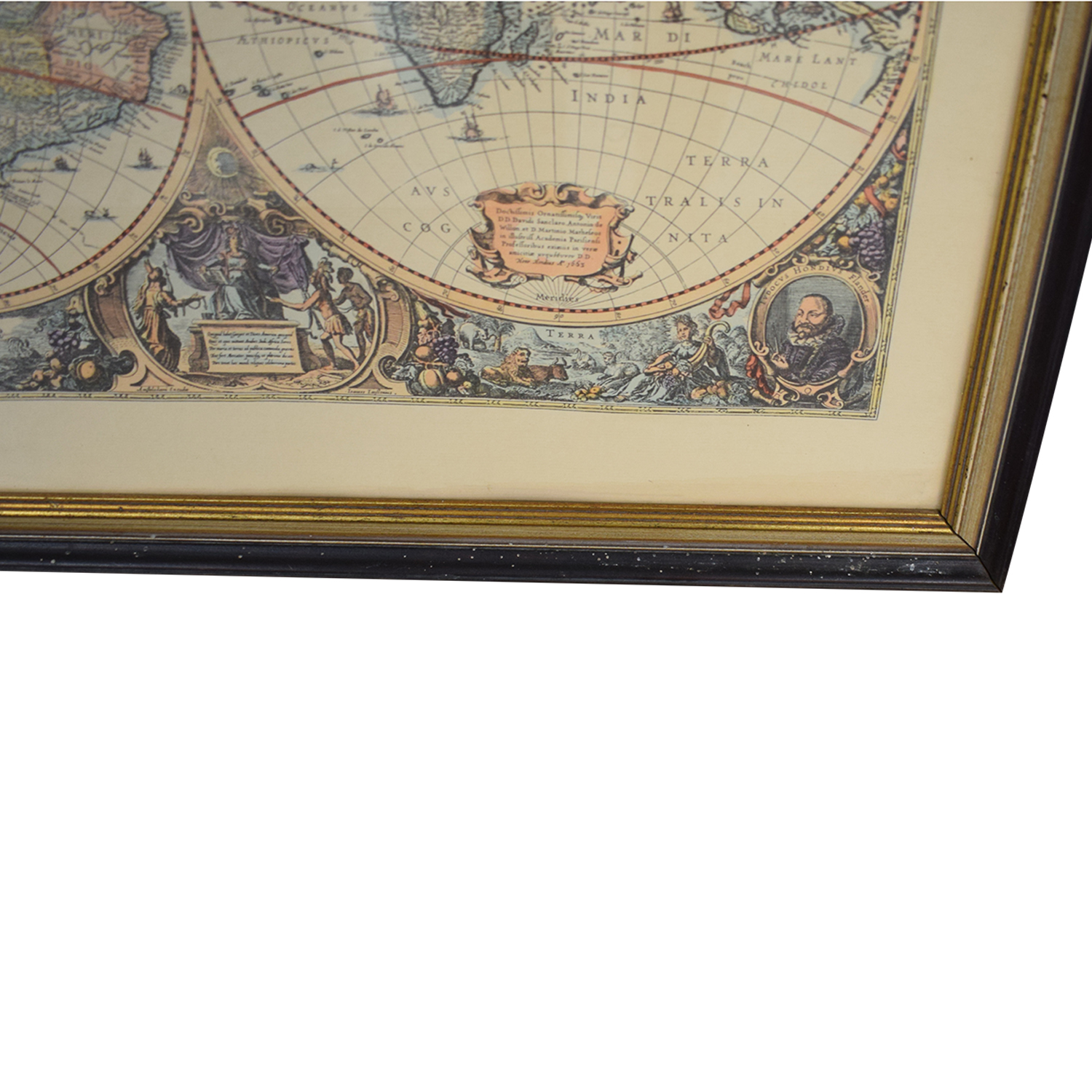 Framed Conduis Antique World Map discount