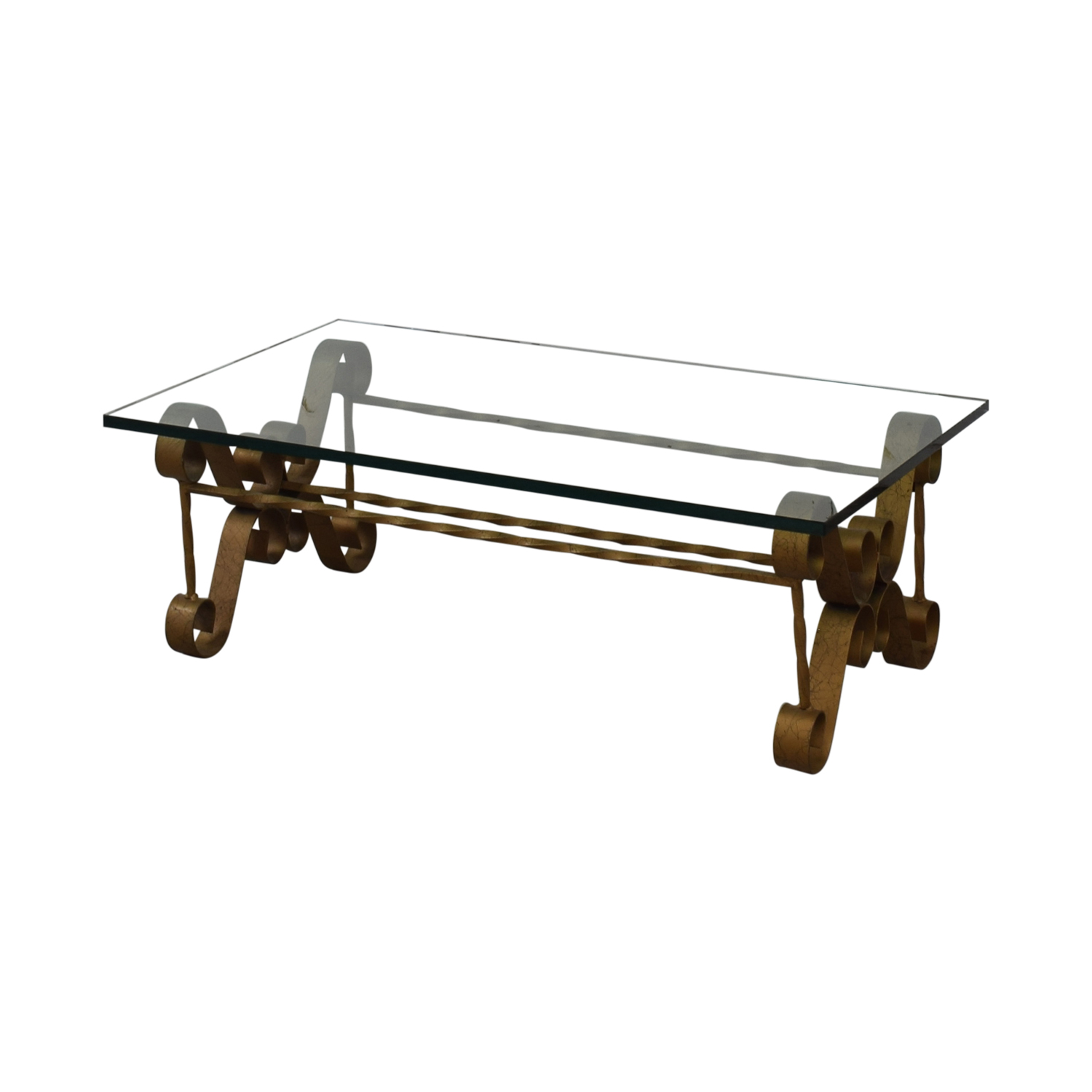 Antique Gilt Iron Coffee Table dimensions