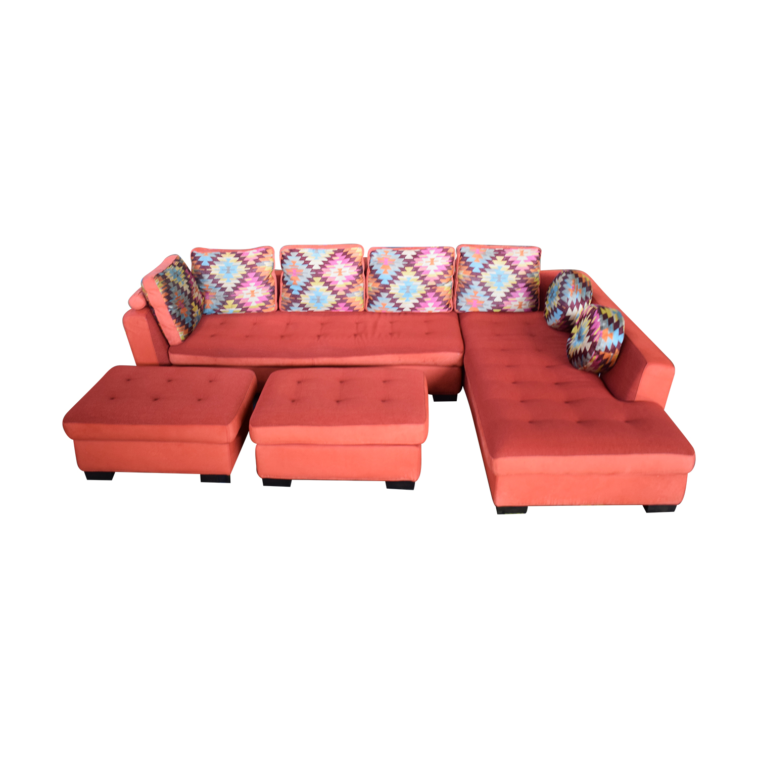 Maurice Villency Maurice Villency Sofa Sectional with Ottomans red