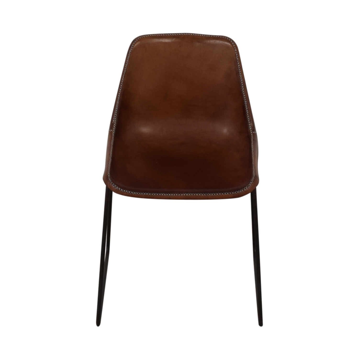 ABC Carpet & Home Giron Brown Leather Chair / Dining Chairs