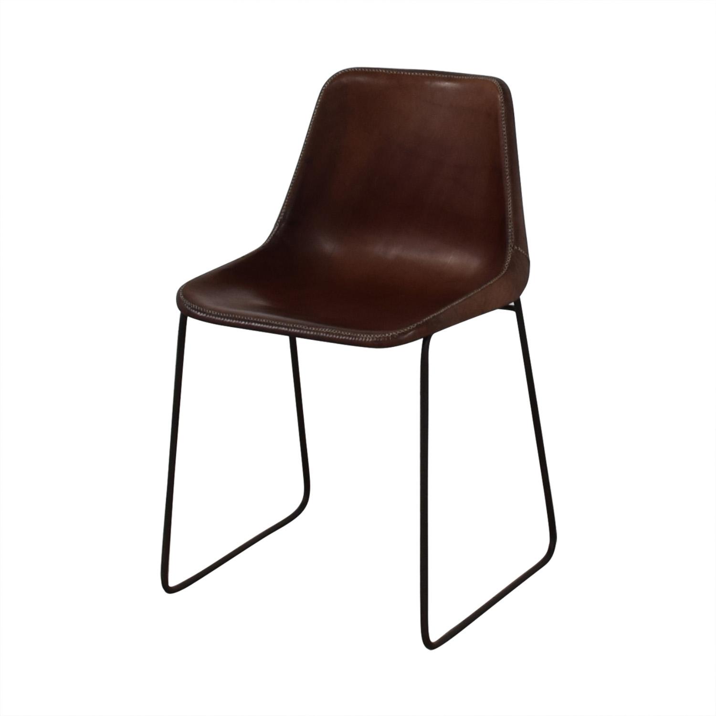 shop ABC Carpet & Home Giron Brown Leather Chair ABC Carpet & Home Chairs
