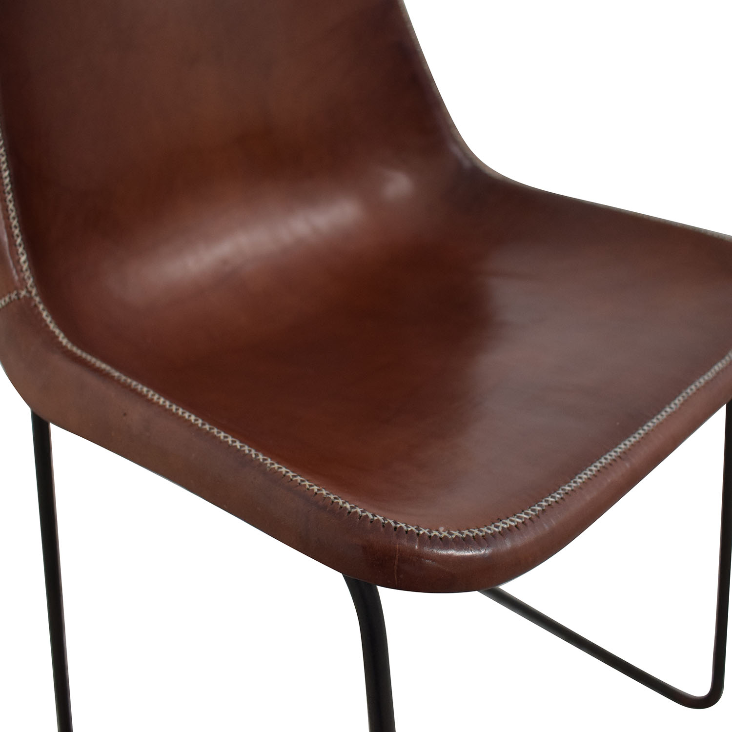 ABC Carpet & Home ABC Carpet & Home Giron Brown Leather Chair Dining Chairs
