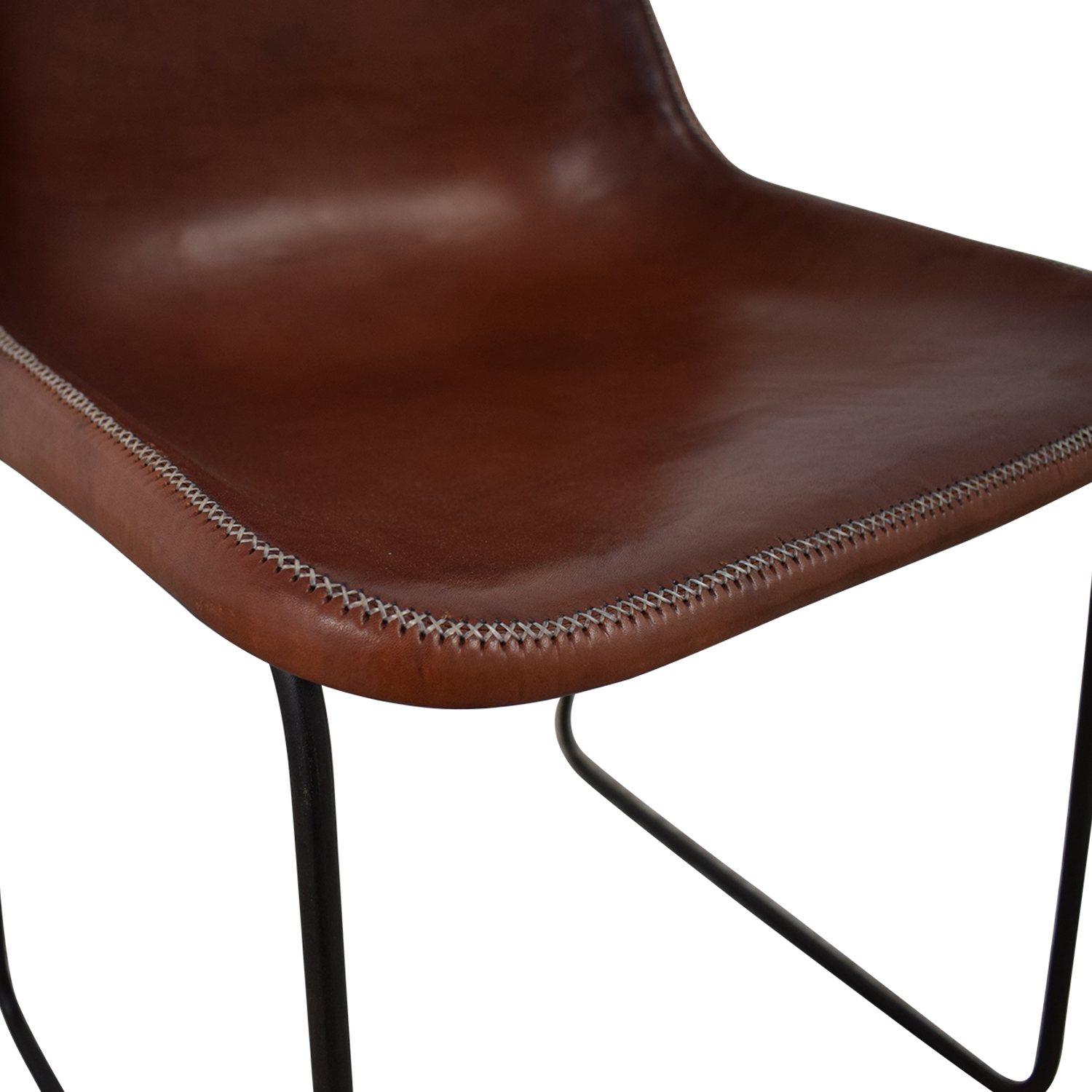 shop ABC Carpet & Home Giron Brown Leather Chair ABC Carpet & Home Dining Chairs
