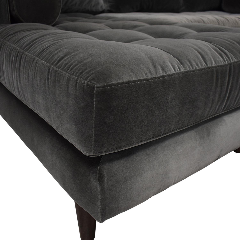 Article Article Sven Velvet Gray Left Chaise Sectional dark grey