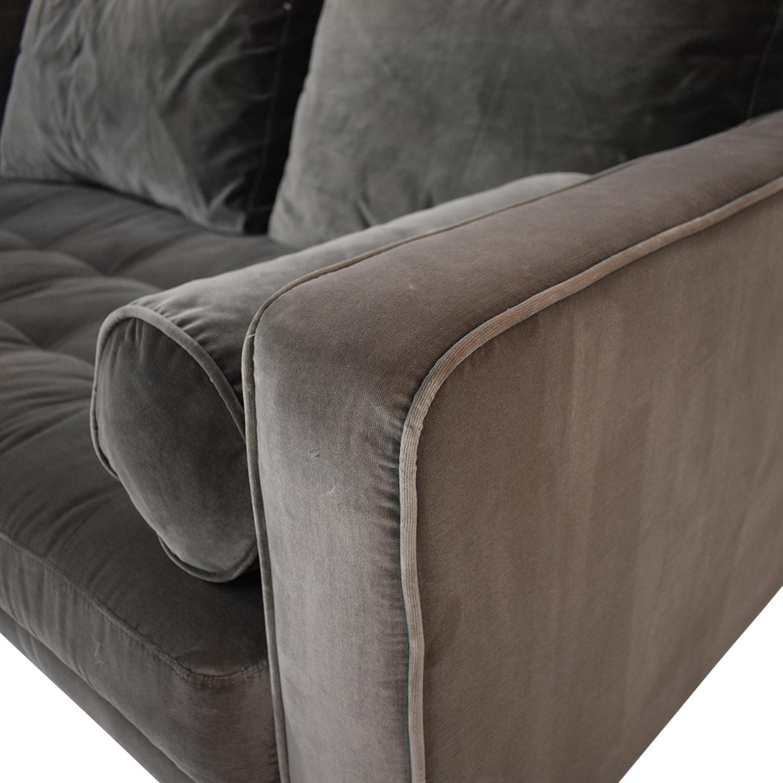 Article Sven Velvet Gray Left Chaise Sectional Article