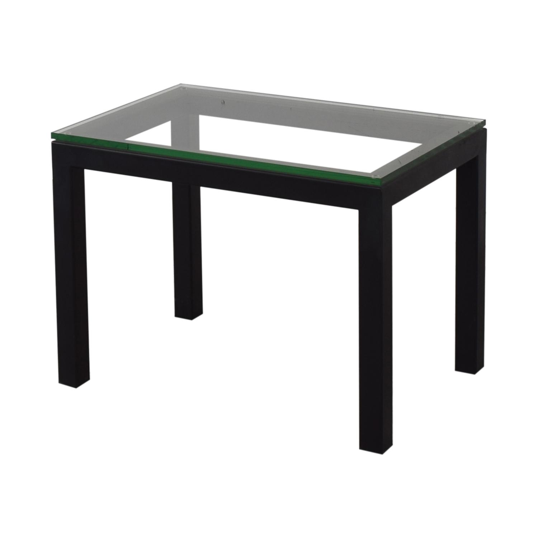 shop Crate & Barrel Parsons Clear Glass Top End Table Crate & Barrel Tables