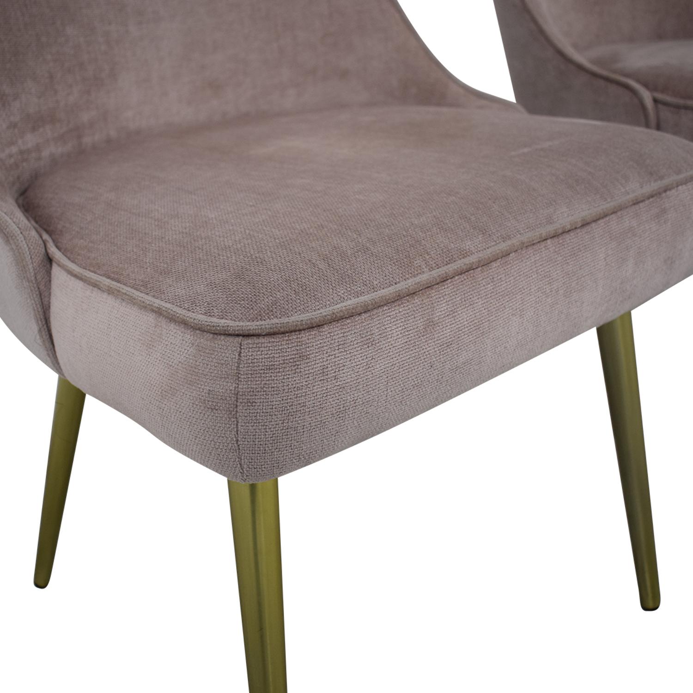 West Elm West Elm Mid-Century Upholstered Chairs Worn Velvet Light Pink discount