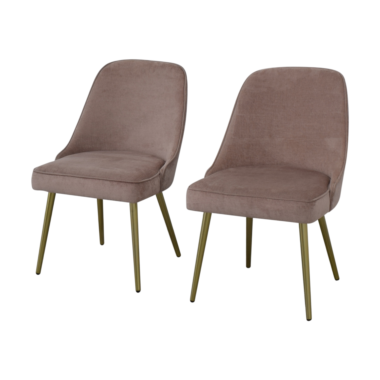 shop West Elm Mid-Century Upholstered Chairs Worn Velvet Light Pink West Elm Dining Chairs