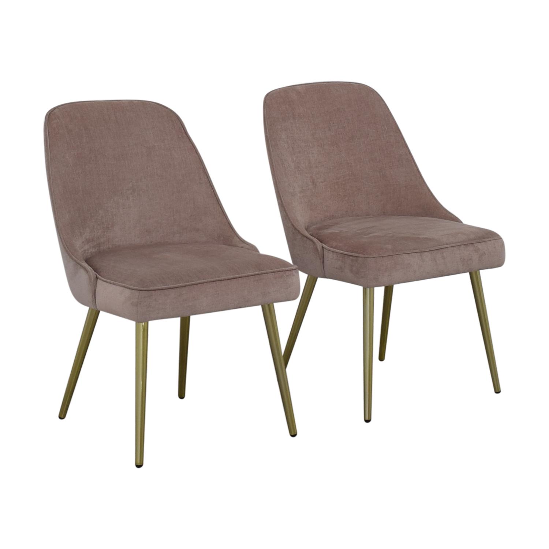 West Elm West Elm Mid-Century Upholstered Chairs Worn Velvet Light Pink nyc