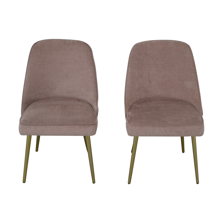 West Elm West Elm Mid-Century Upholstered Chairs Worn Velvet Light Pink