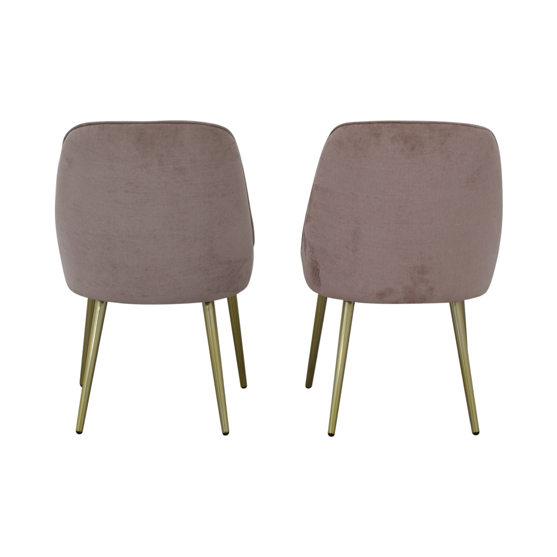 West Elm Mid-Century Upholstered Chairs Worn Velvet Light Pink sale