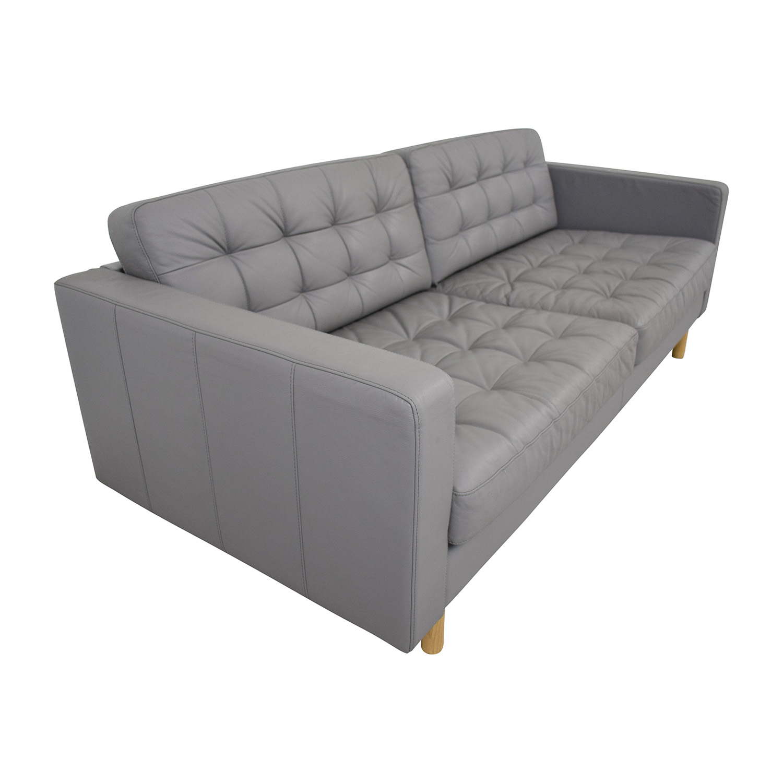 IKEA IKEA Grey Leather Landskrona Sofa discount