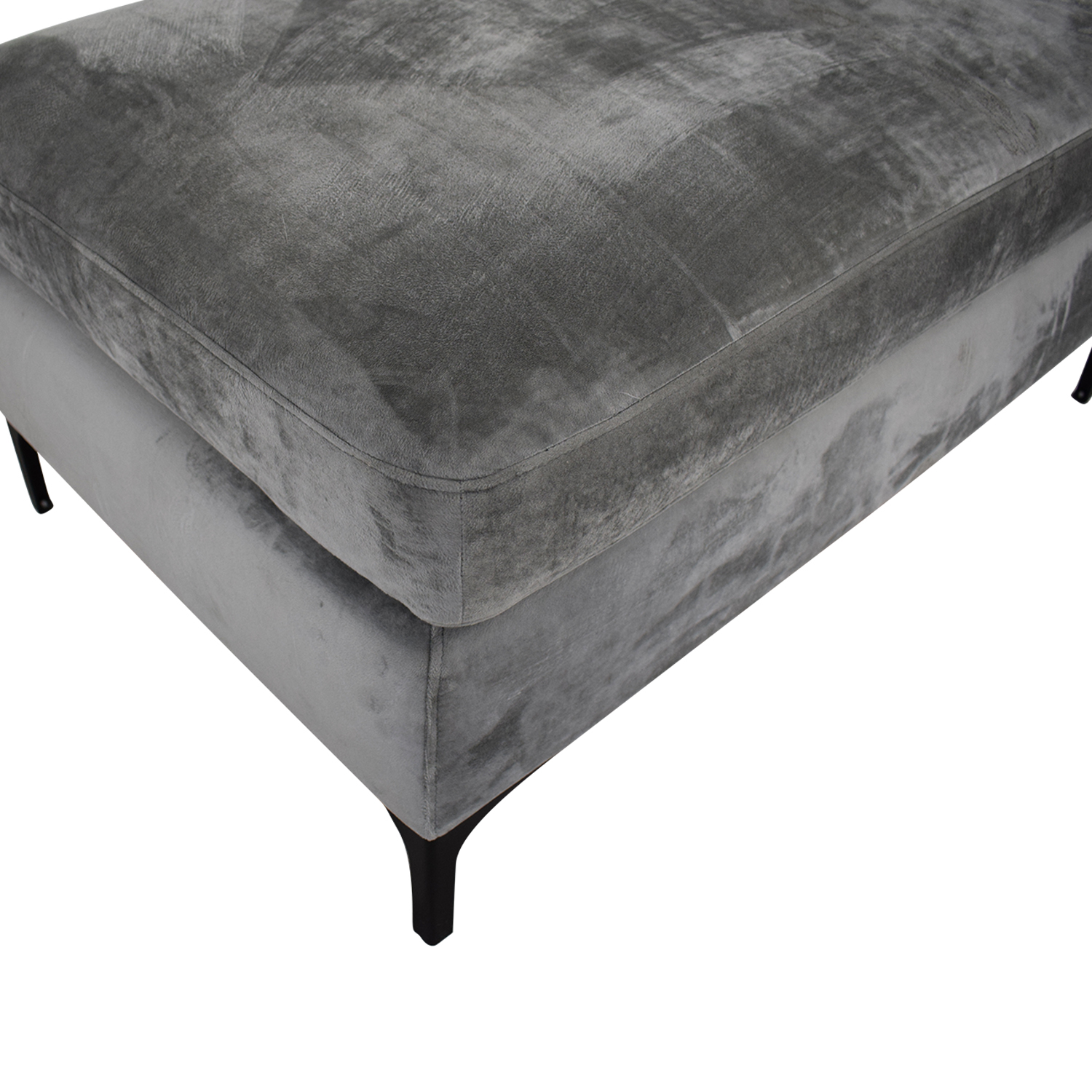 buy Sloan Greige Grey Velvet Ottoman Interior Define