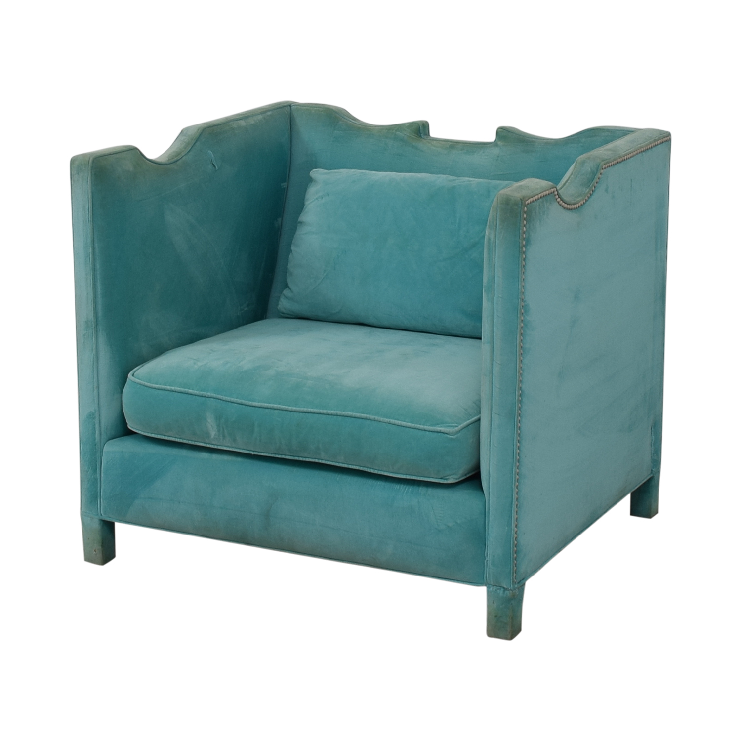 Shine by S.H.O Shine by S.H.O Limoge Chair Cotton Velvet with Polished Nickel Studs nj