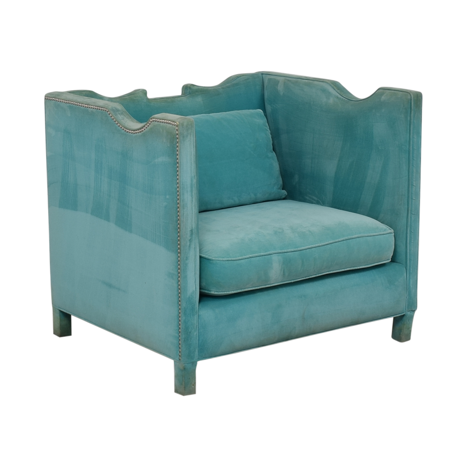 buy Shine by S.H.O Limoge Chair Cotton Velvet with Polished Nickel Studs Shine by S.H.O Chairs