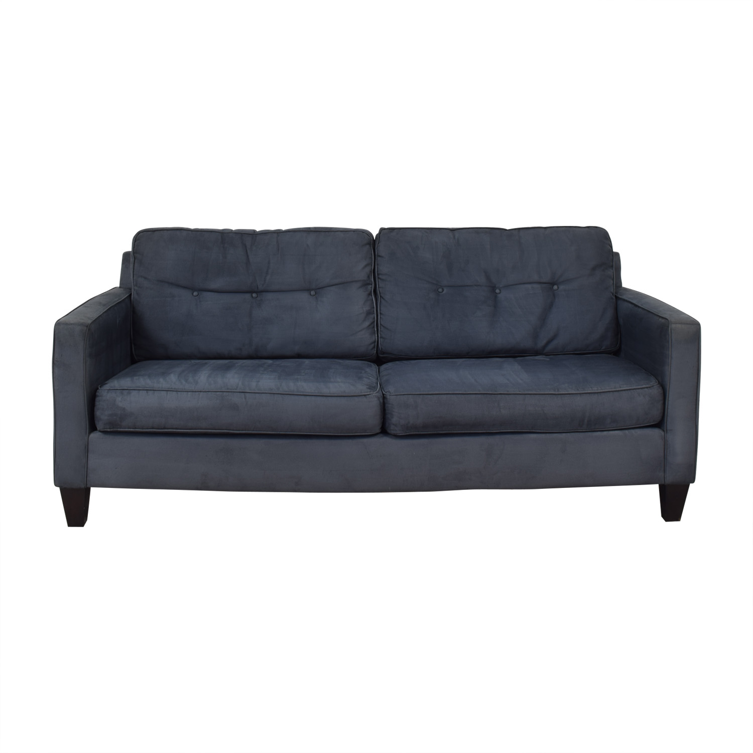Bauhaus Furniture Bauhaus Furniture Navy Tufted Microfiber Sofa second hand