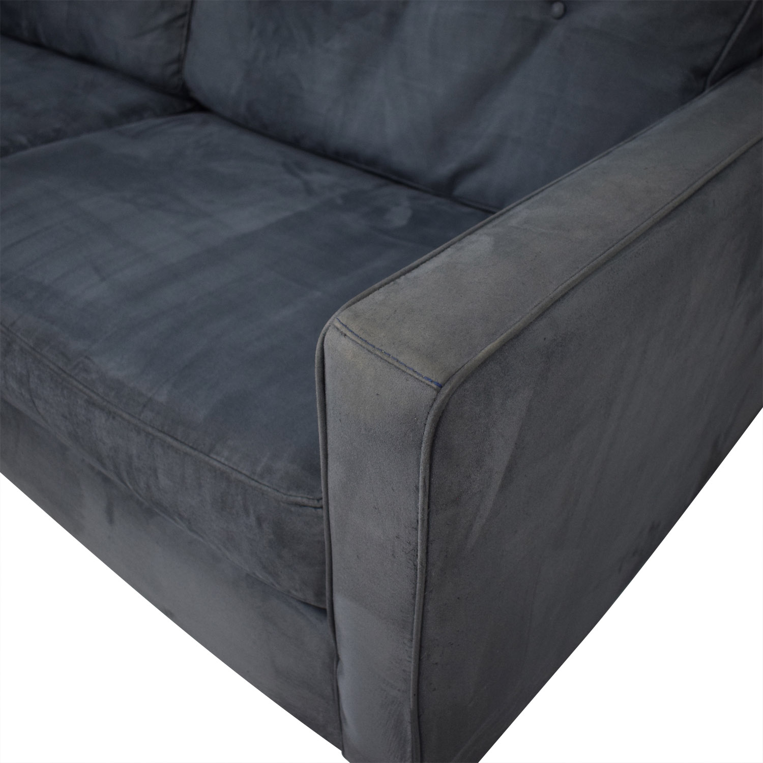 Bauhaus Furniture Bauhaus Furniture Navy Tufted Microfiber Sofa