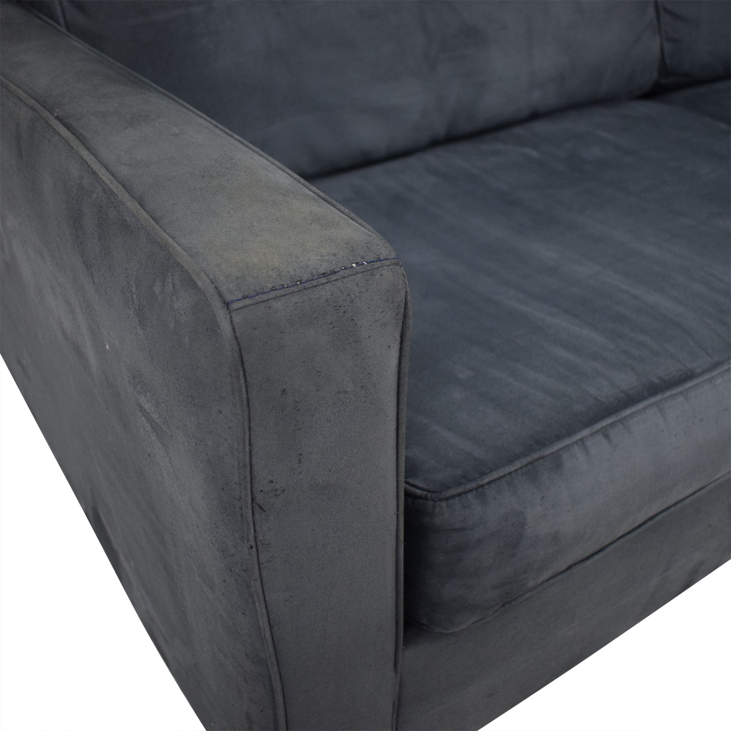 Bauhaus Furniture Navy Tufted Microfiber Sofa sale