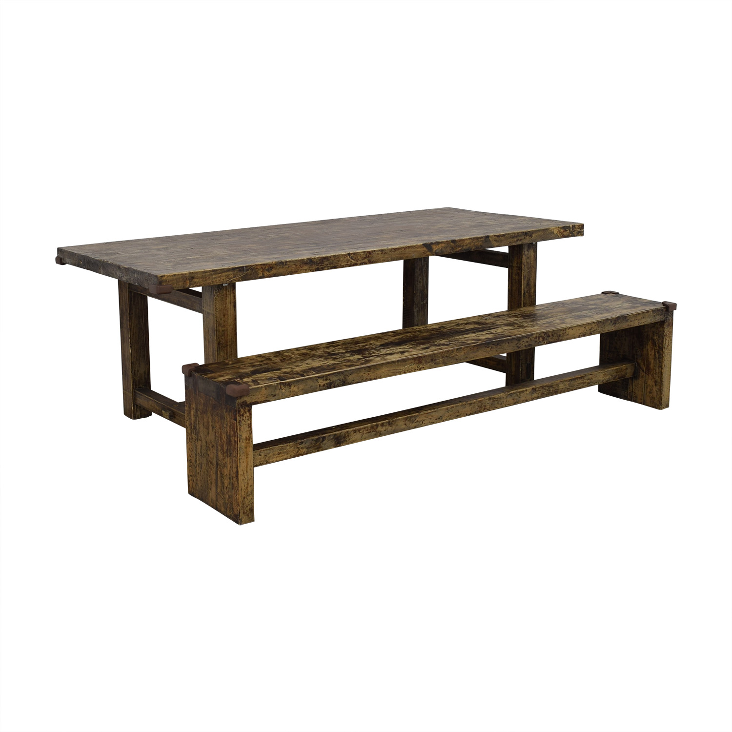 Rustic Farm Dining Table with Bench