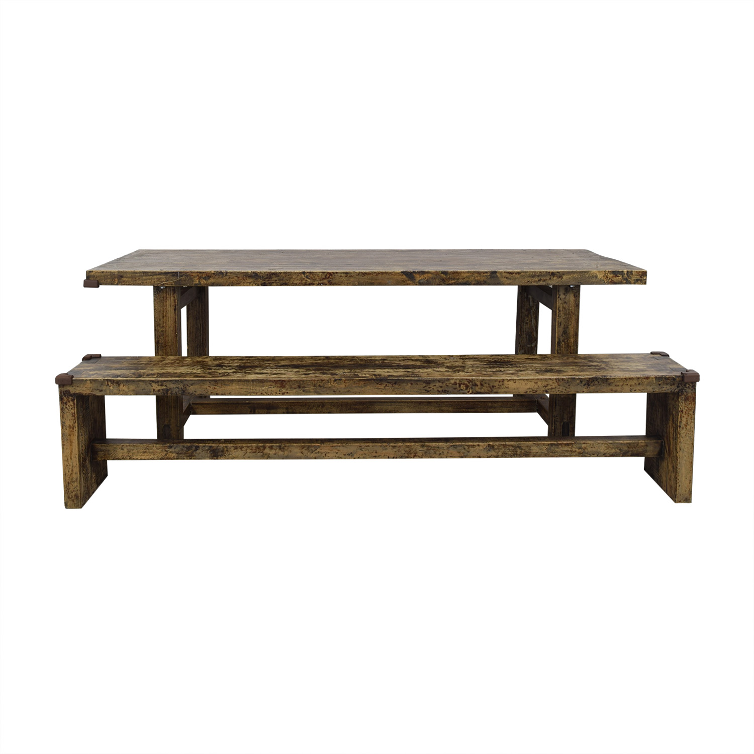 Rustic Farm Dining Table with Bench sale