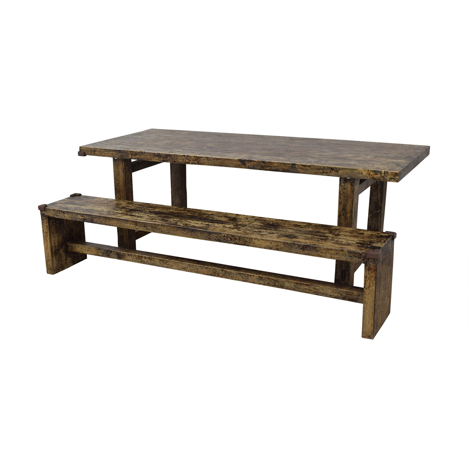 Rustic Farm Dining Table with Bench dimensions