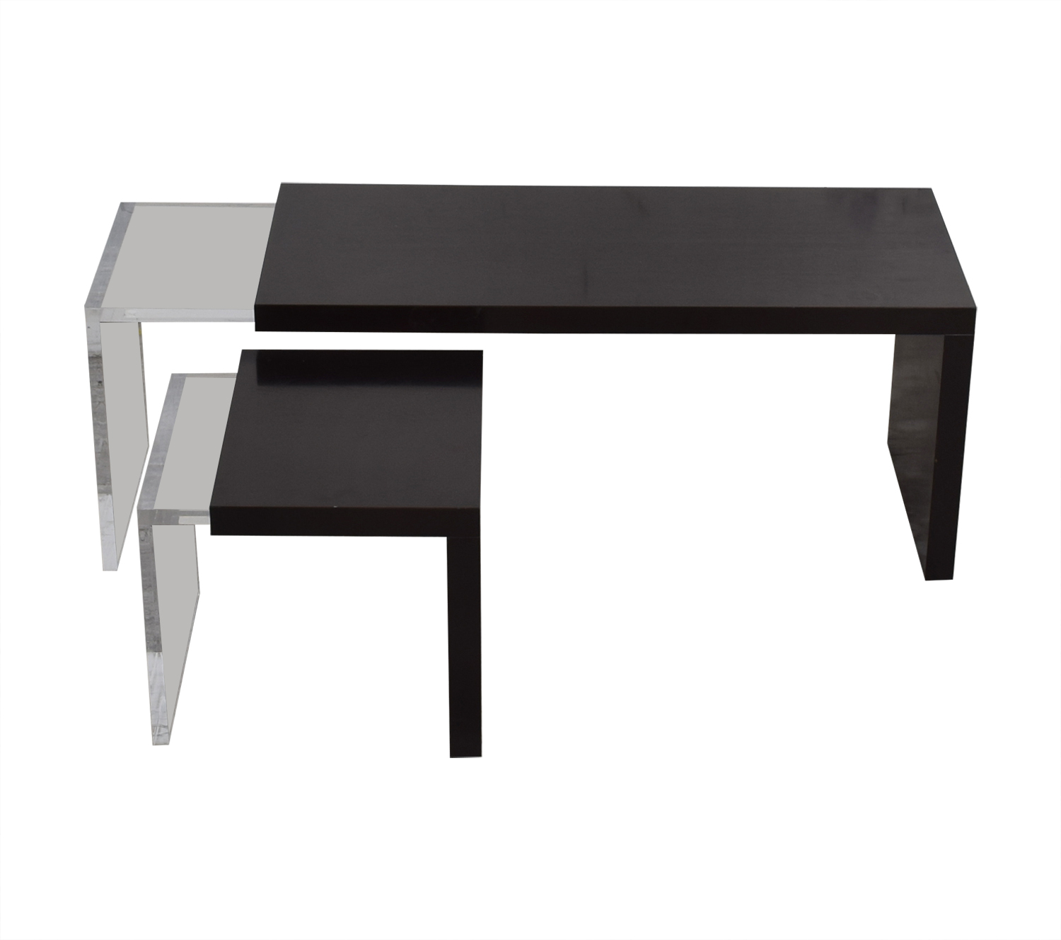 Black and Clear Nested Coffee Tables nj