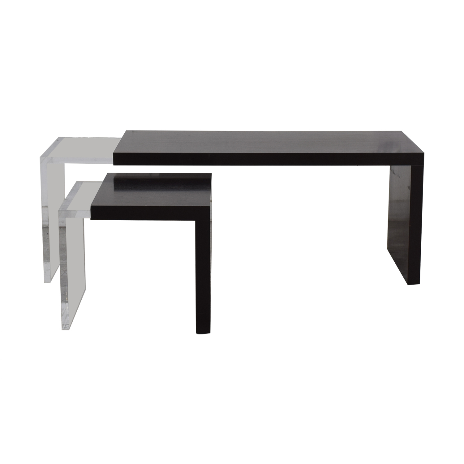 Black and Clear Nested Coffee Tables dimensions