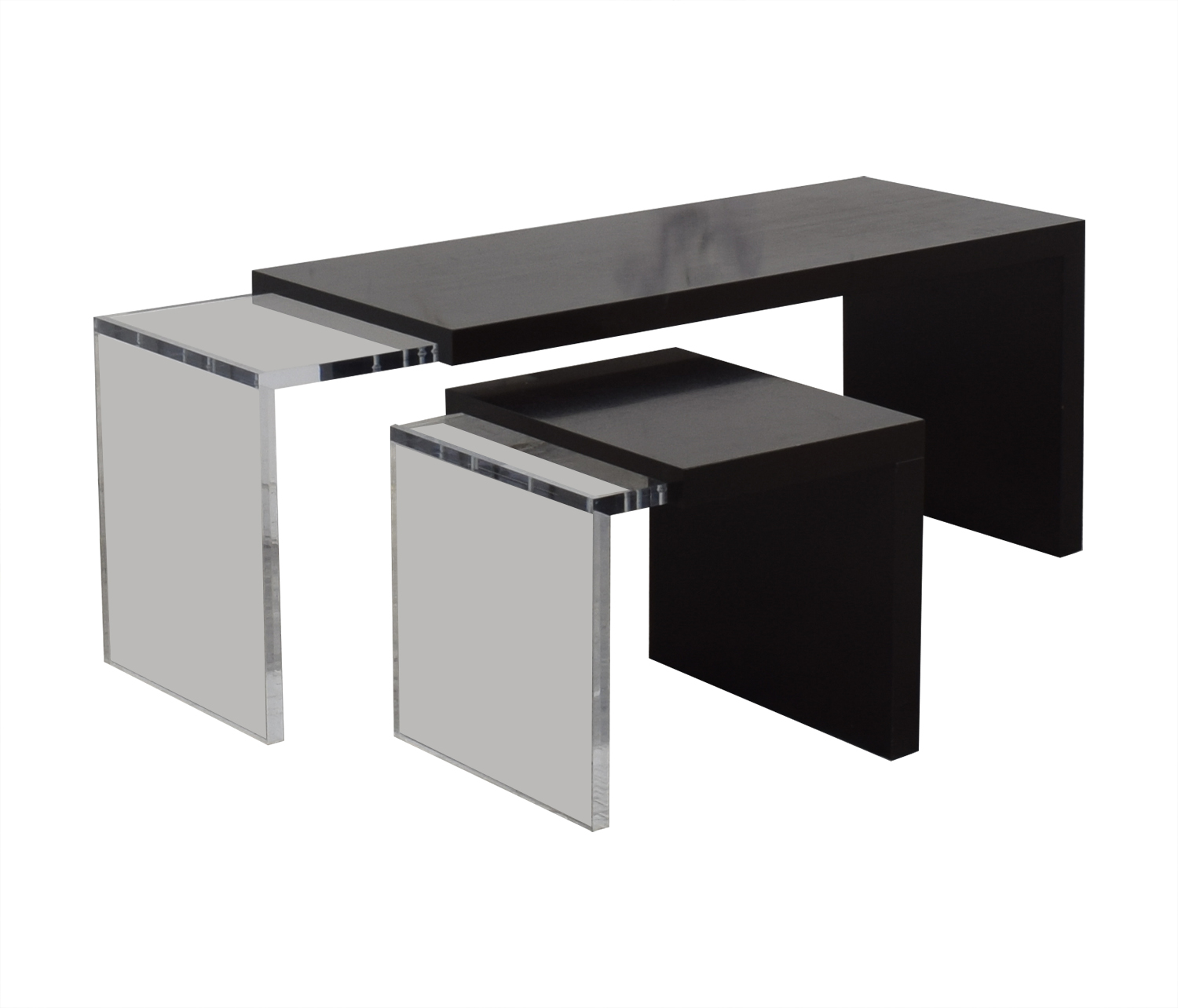 Black and Clear Nested Coffee Tables