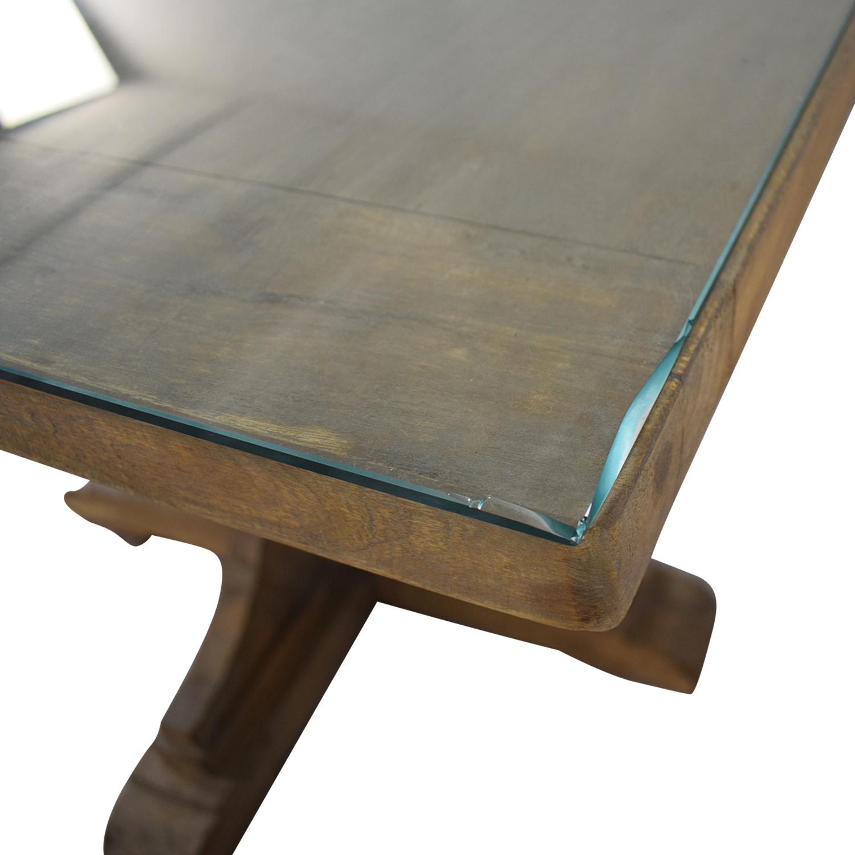 Handmade French Bracket Mango Wood Dining Table with Custom Glass Top nyc