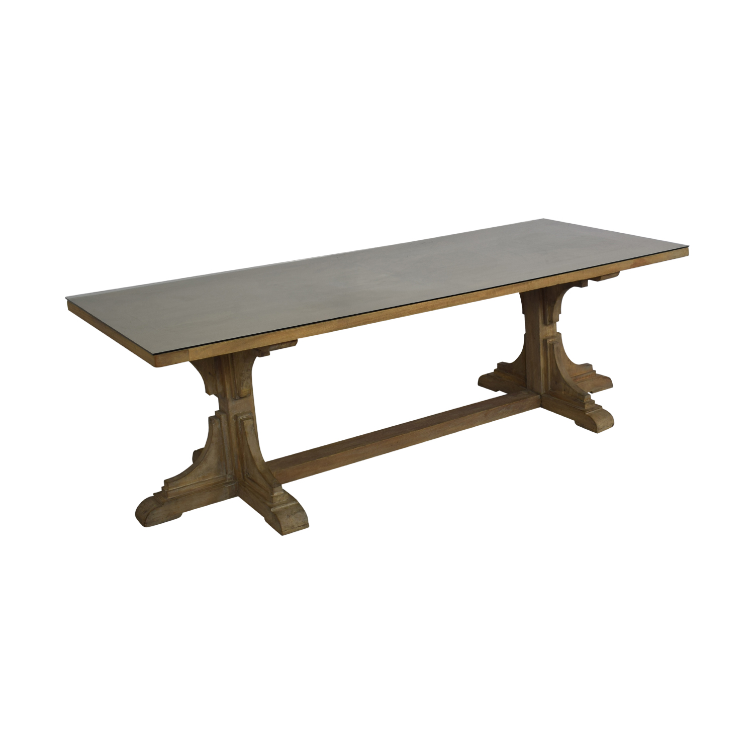 Handmade French Bracket Mango Wood Dining Table with Custom Glass Top