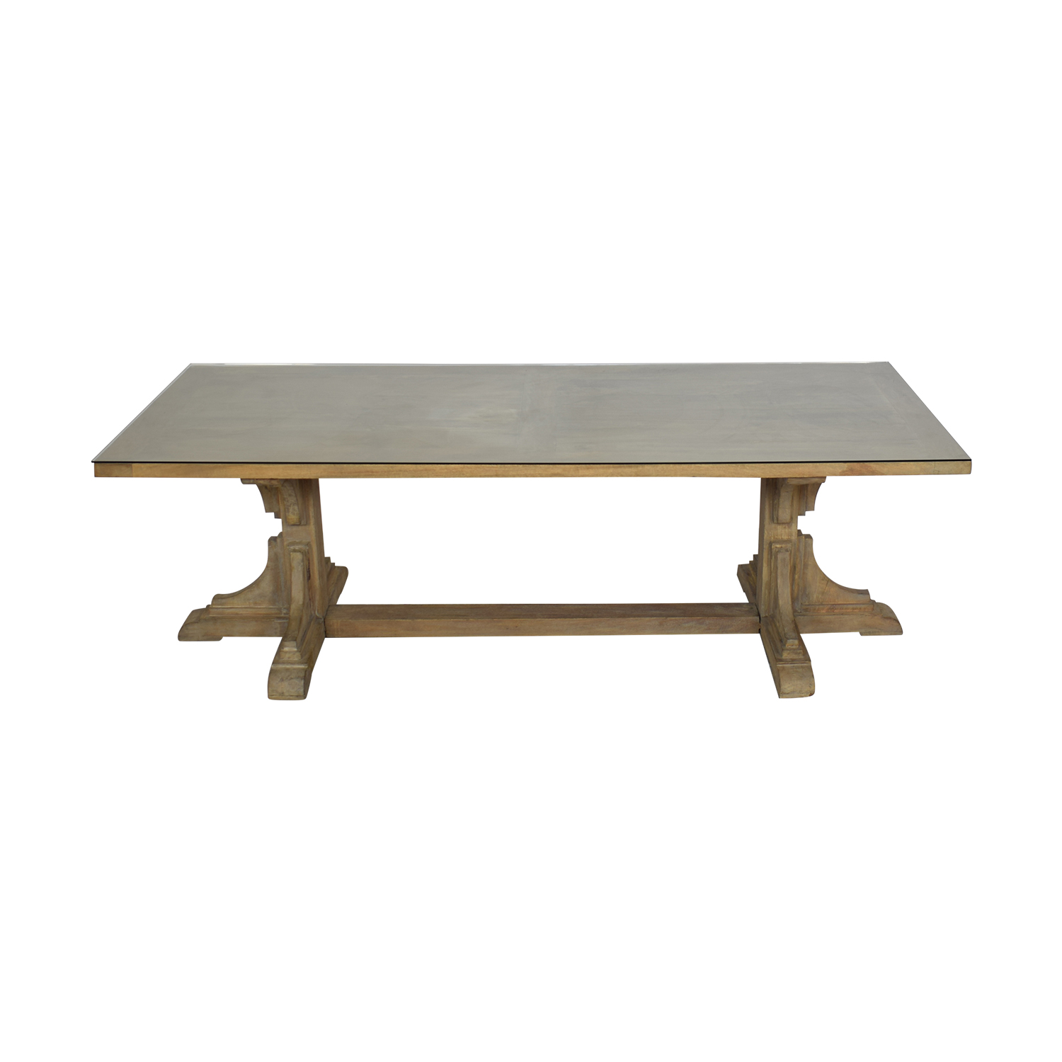 Handmade French Bracket Mango Wood Dining Table with Custom Glass Top for sale
