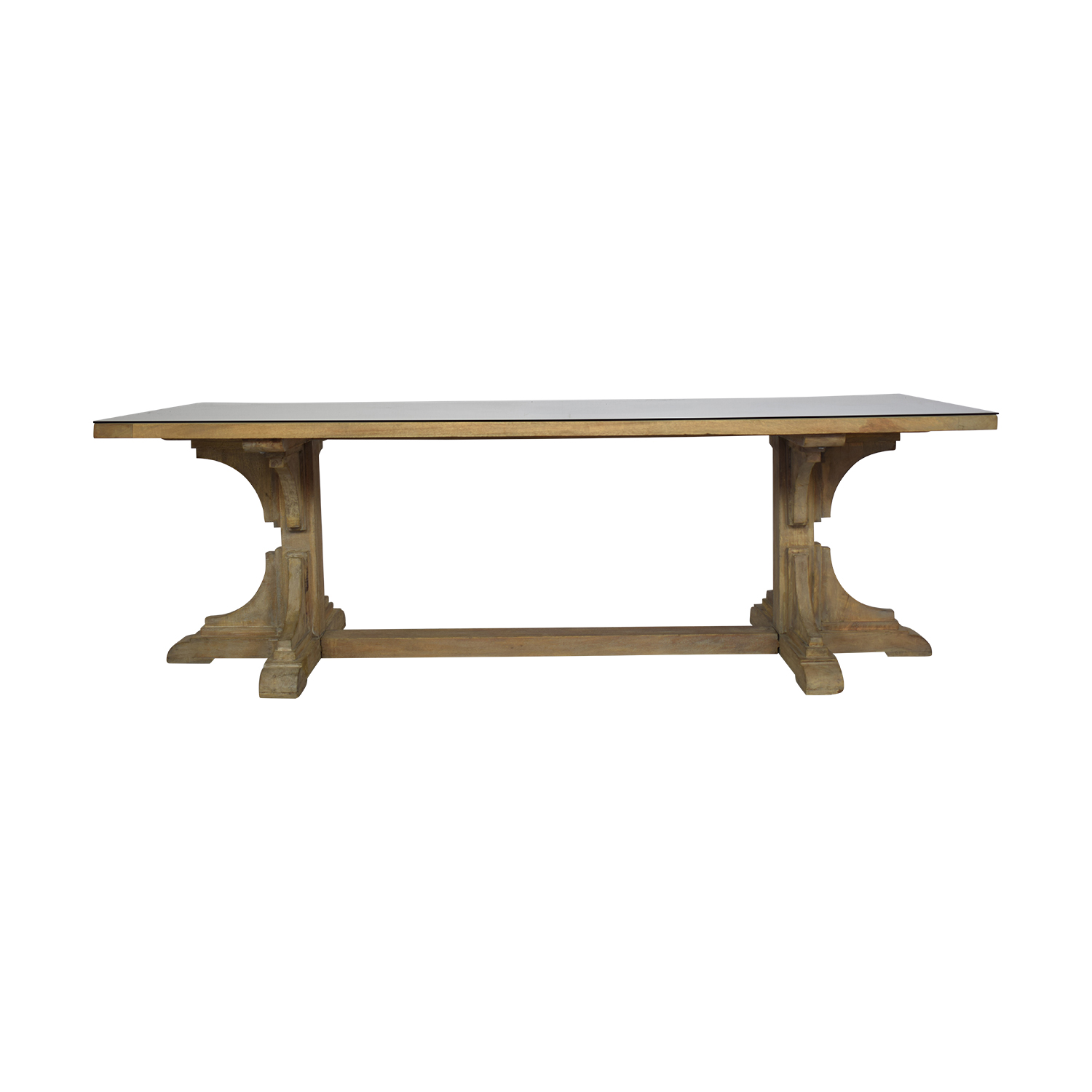 Handmade French Bracket Mango Wood Dining Table with Custom Glass Top on sale