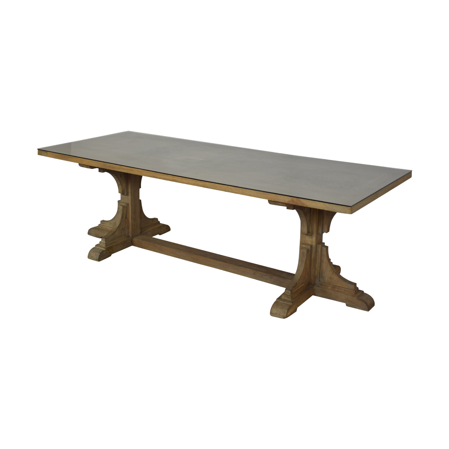 buy  Handmade French Bracket Mango Wood Dining Table with Custom Glass Top online