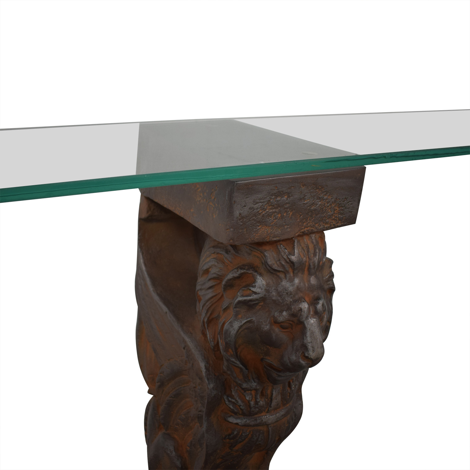 Glass Console Table with Lion Sculpture Pedestal Bases nyc