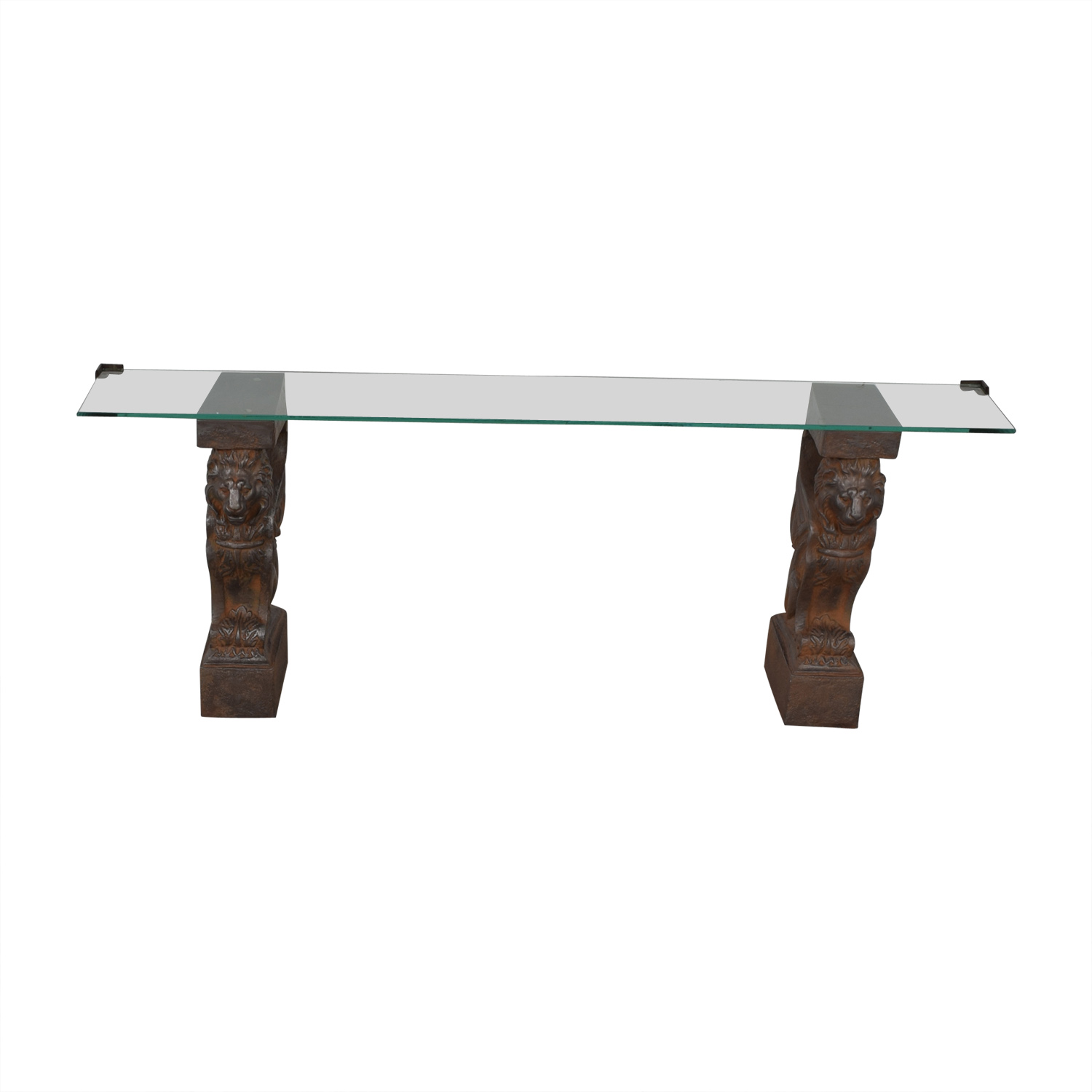 Glass Console Table with Lion Sculpture Pedestal Bases coupon