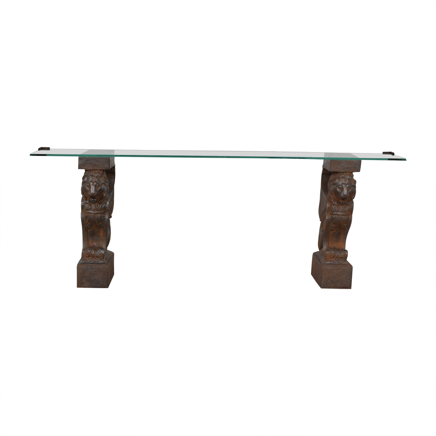 Glass Console Table with Lion Sculpture Pedestal Bases second hand