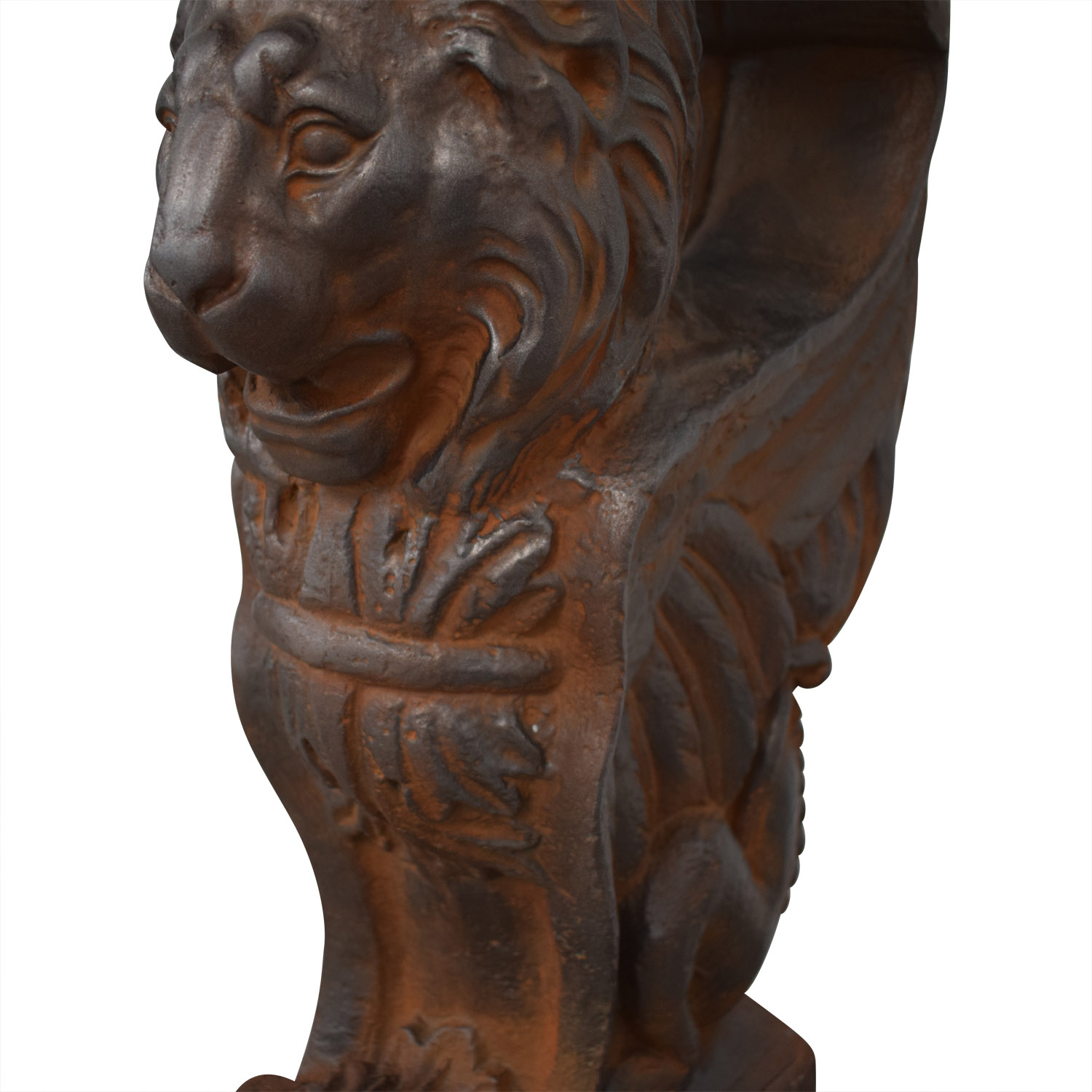 Glass Console Table with Lion Sculpture Pedestal Bases for sale