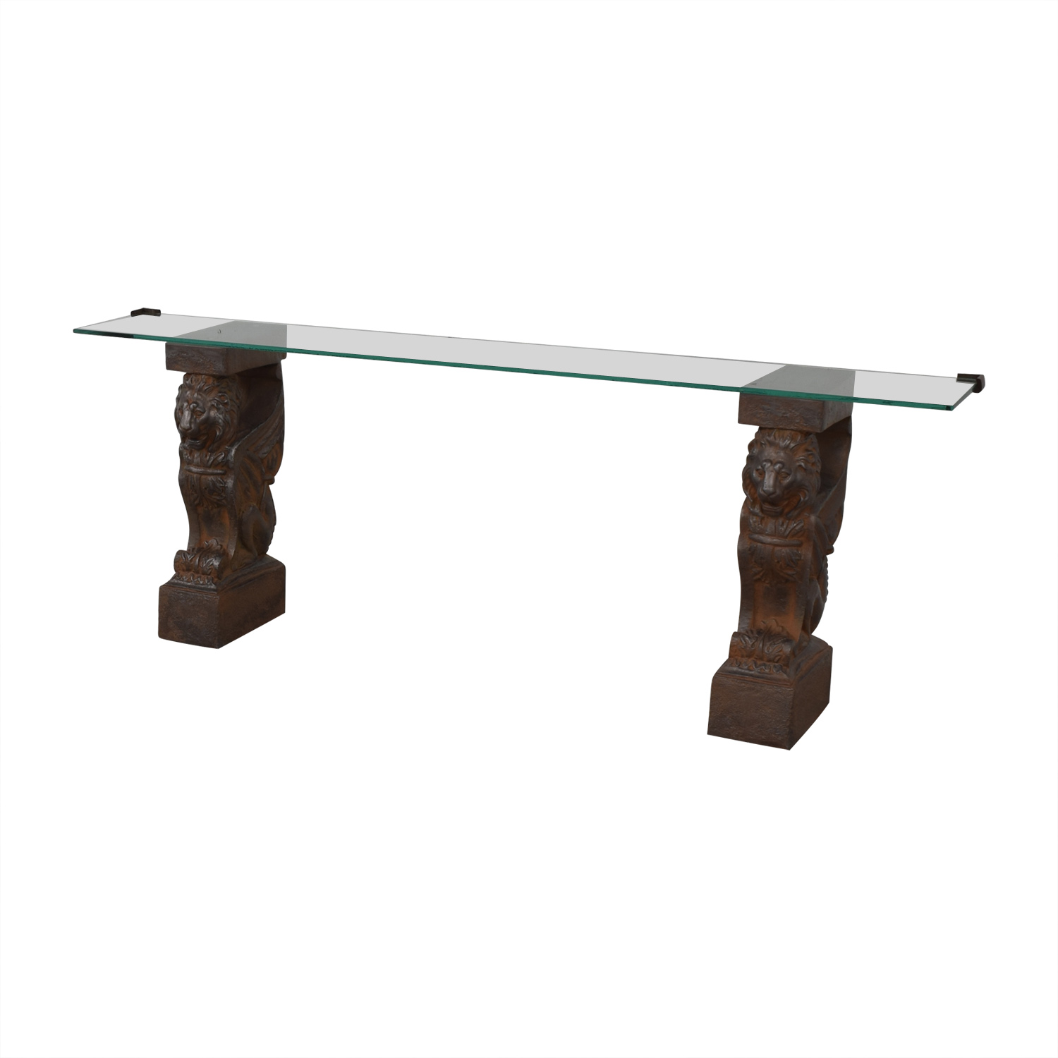 Glass Console Table with Lion Sculpture Pedestal Bases Tables