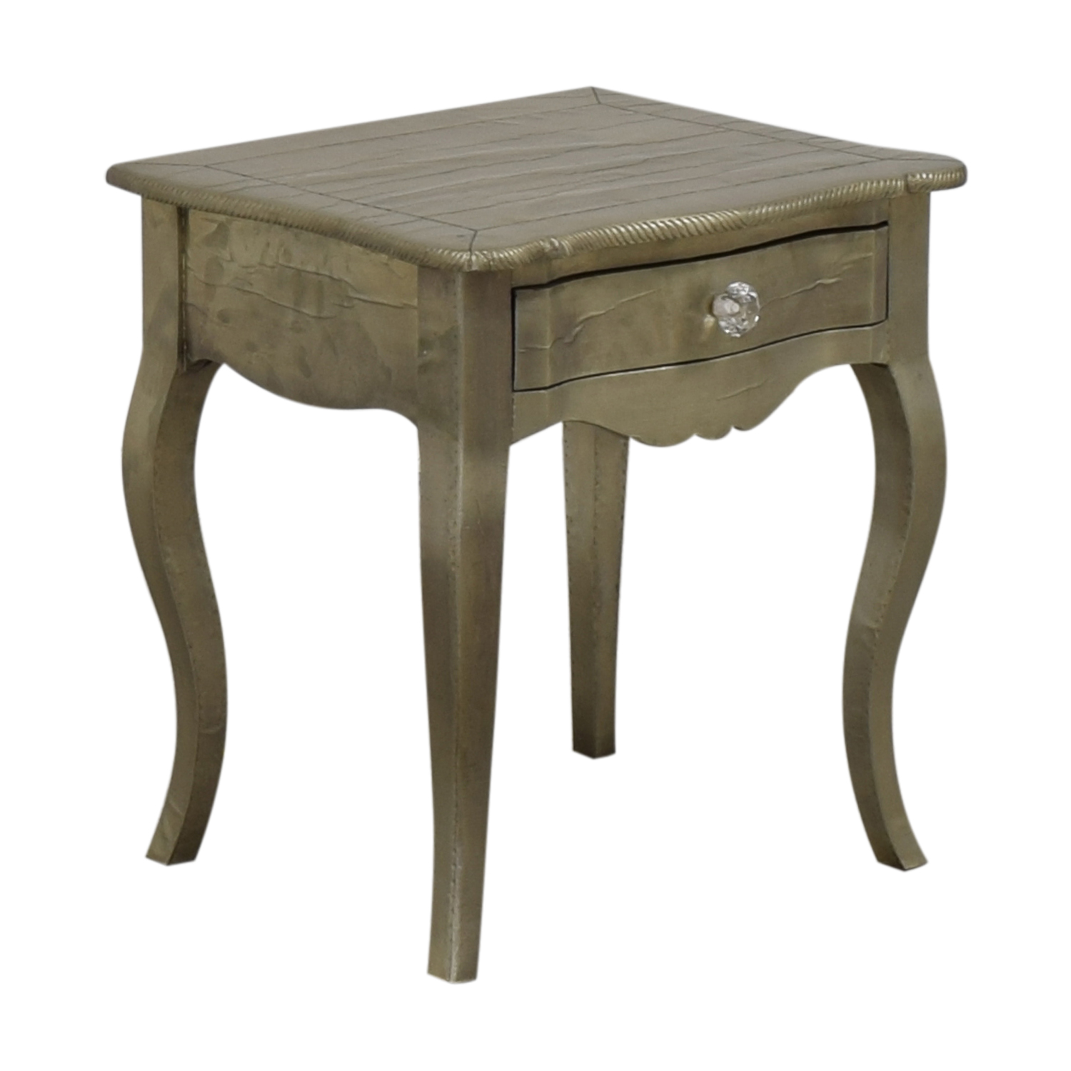 ABC Carpet & Home ABC Carpet & Home Wood Silver Leaf Bedside Table for sale