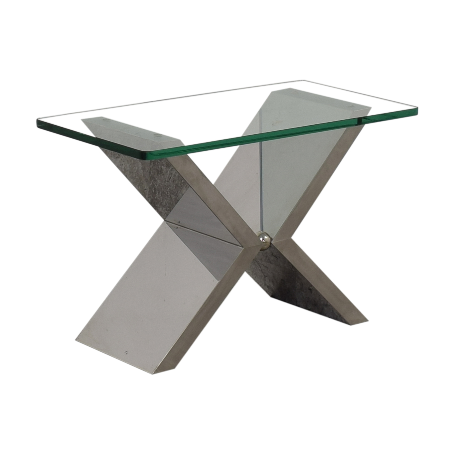 J Robert Scott J Robert Scott Modern Glass and Steel Side Table nj