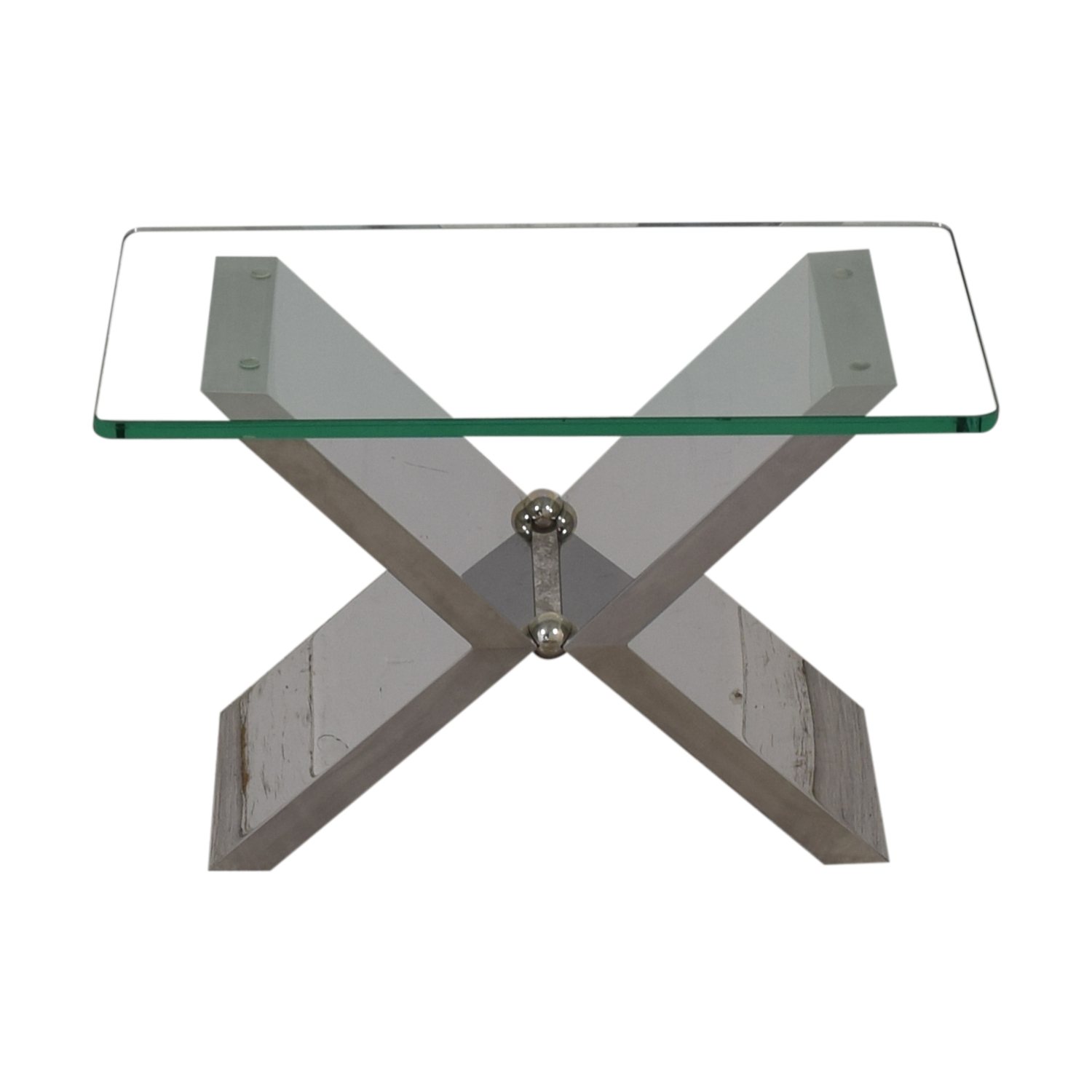 J Robert Scott Modern Glass and Steel Side Table sale