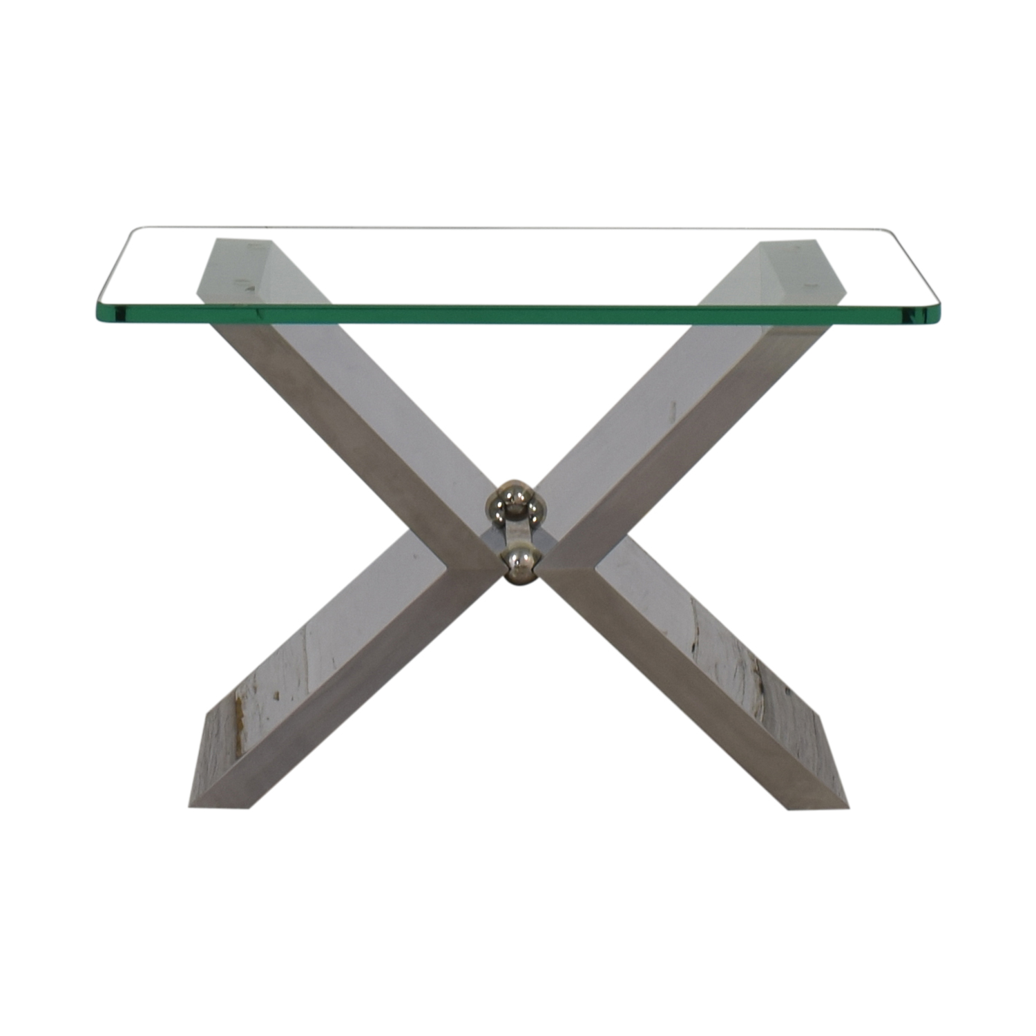 J Robert Scott J Robert Scott Modern Glass and Steel Side Table for sale
